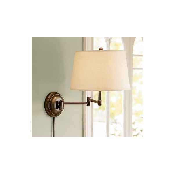 Pottery Barn Cfl Chelsea Swing Arm Sconce Base Antique Br Finish 99 Liked On Polyvore Featuring Home Lighting Wall Lights