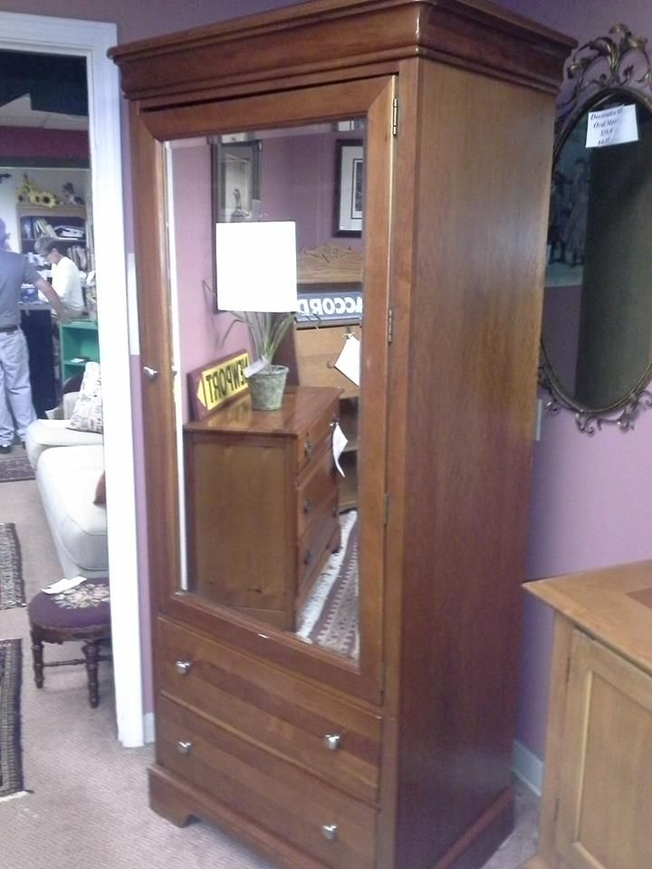 STANLEY CHERRY MIRRORED CLOTHING ARMOIRE $379.00 2209 8  Www.facebook.com/eliterepeatfurniture