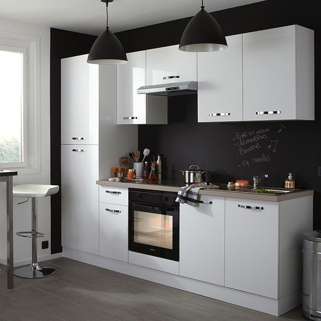 Cuisine compl te all in 2 laqu e blanche vitroc ramique - Amenagement cuisine castorama ...
