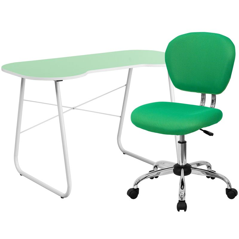 $149 Green Computer Desk And Mesh Chair, NAN 12 GG By Flash Furniture