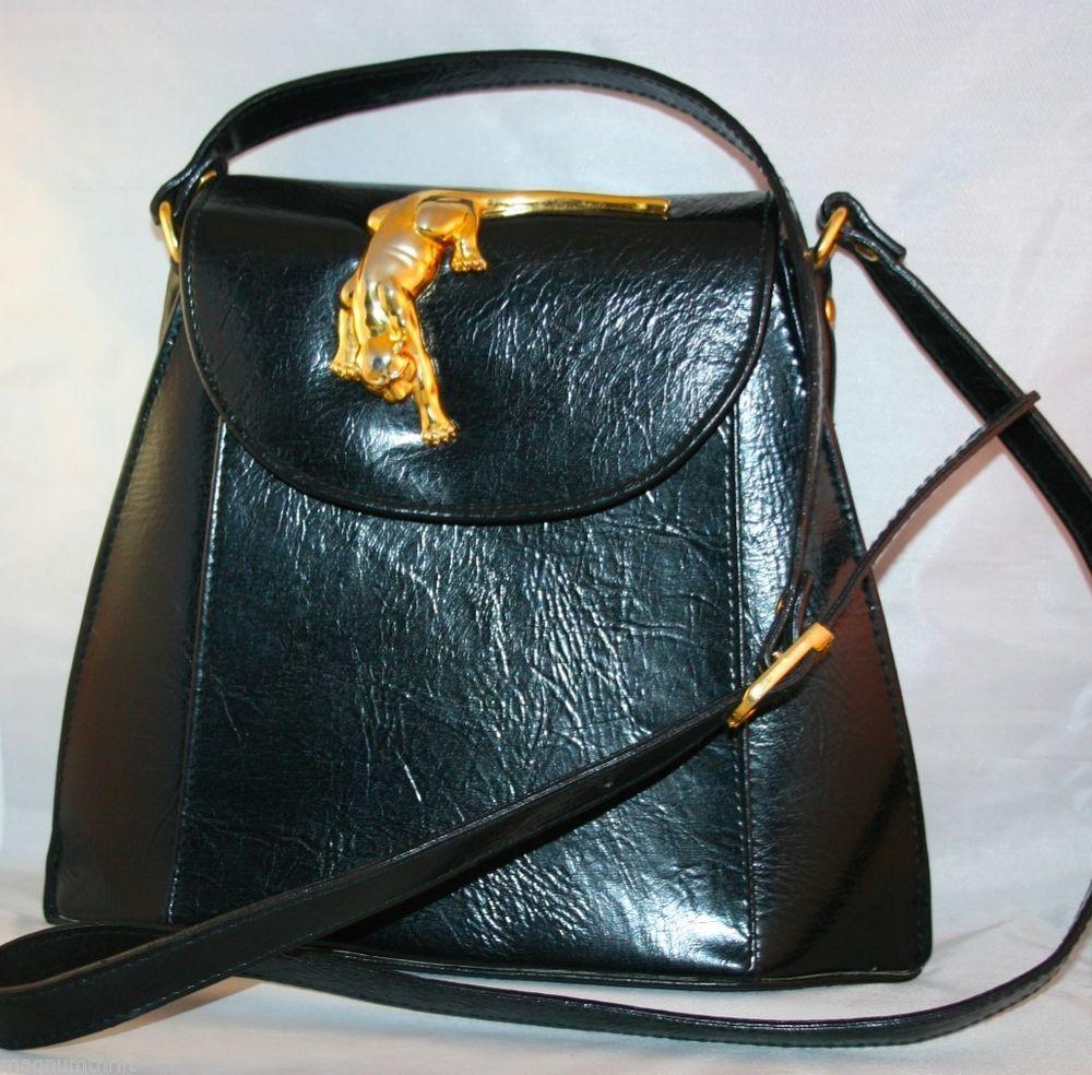 Vintage 80s Leather Sasha Handbag CrossBody Patent Purse Brass Panther or Jaguar @MagnumVintage&Thrift
