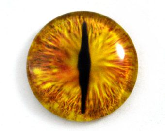 Pair of 40mm Detailed Fantasy Green and Orange Dragon Glass Eyes Cabochons