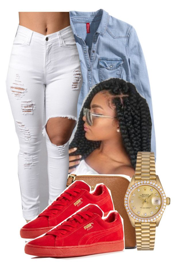 """6:10:16"" by lookatimani ❤ liked on Polyvore featuring H&M, MICHAEL Michael Kors, Puma and Rolex"