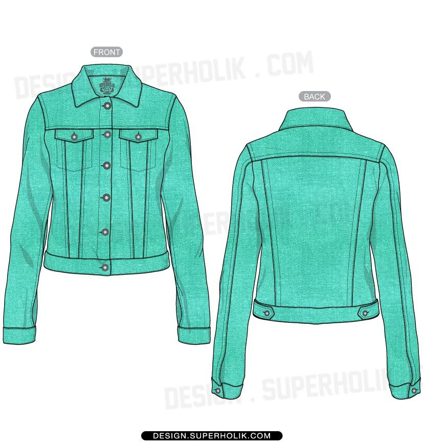 Womenu0026#39;s denim jacket template | SKETCHES Flats Technical u0026 specs | Pinterest | Denim jackets ...