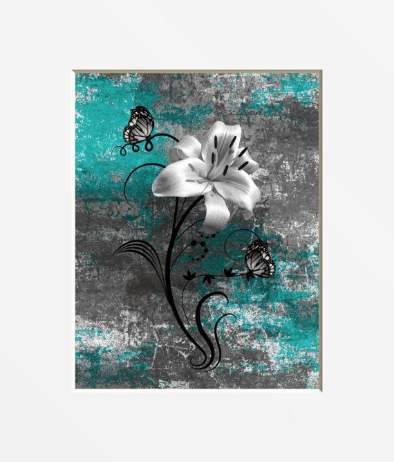 Teal Gray Wall Art Photography Modern Rustic Floral Art Lily Flower Butterflies Teal Home Decor Bathroom Bedroom Theme Matted Teal Art Grey Wall Art Bathroom Wall Decor Art Floral Art
