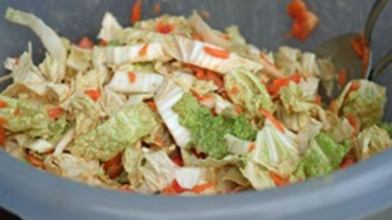 This coleslaw has a wonderful peanut-y sauce that coats the frilly napa cabbage leaves. Delish!