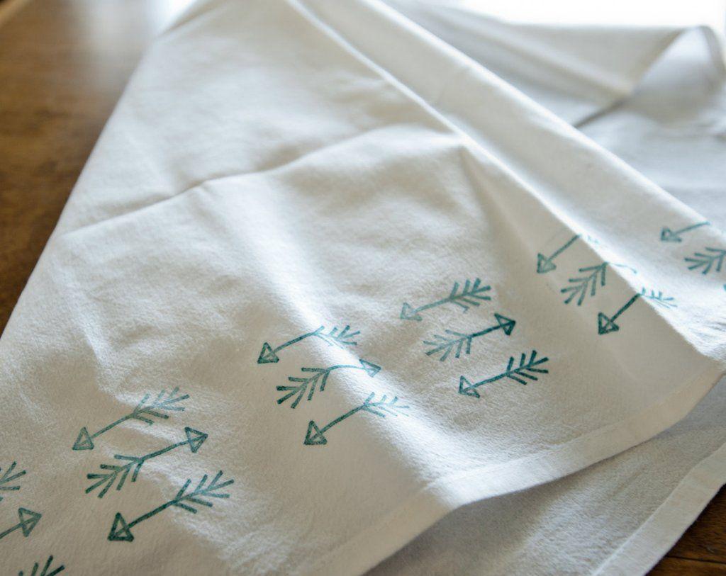 Green Tractor Floursack Kitchen Towel Machine Embroidered
