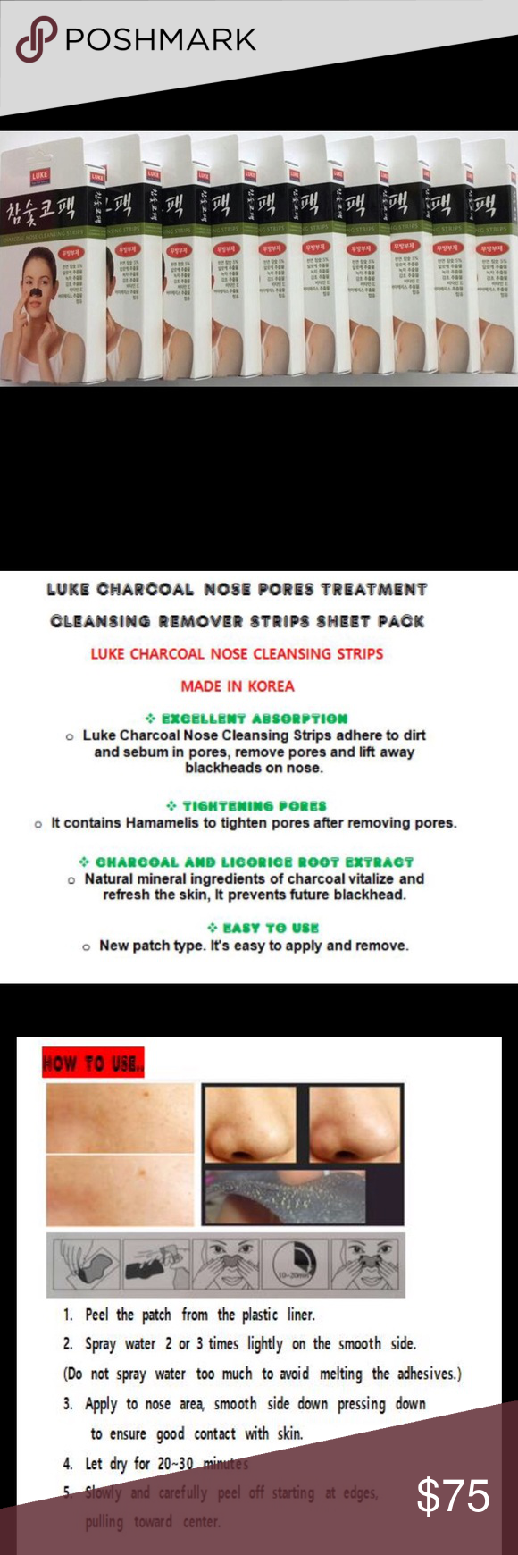 CHARCOAL NOSE CLEANSING 100 STRIPS (10 Box) Brand New!! / Expiration Date - 09/02/2018  Type - Cleansing Mask - All Skin type / Gender - Unisex   LUKE CHARCOAL NOSE PORES TREATMENT  CLEANSING REMOVER STRIPS SHEET PACK  LUKE CHARCOAL NOSE CLEANSING 100 STRIPS (10 Box)  MADE IN KOREA. Luke Makeup