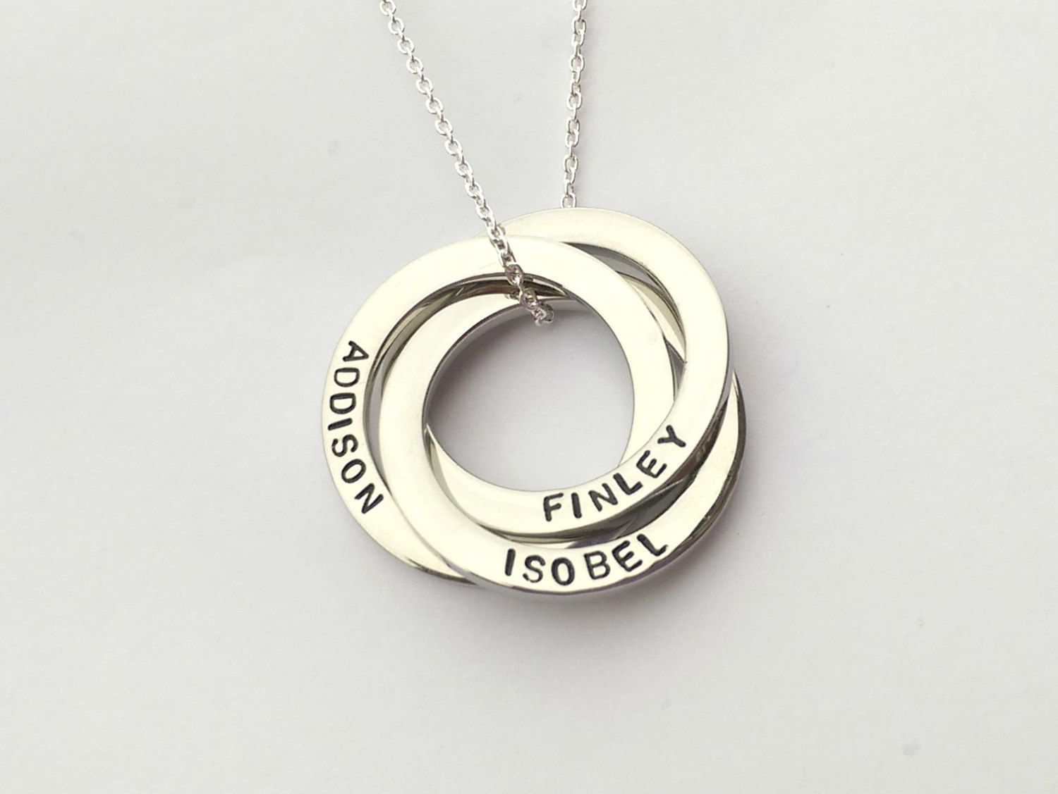 Personalised Interlocking Circles Necklace Russian