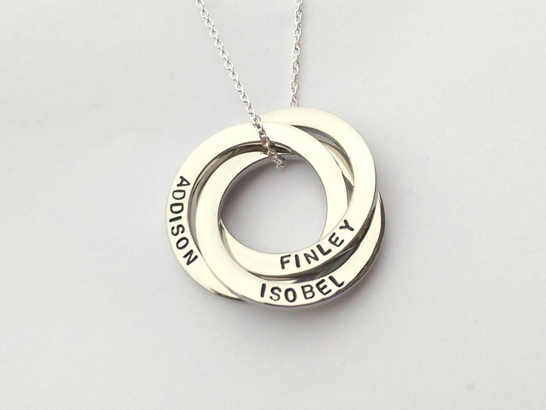 Personalised interlocking circles necklace  russian