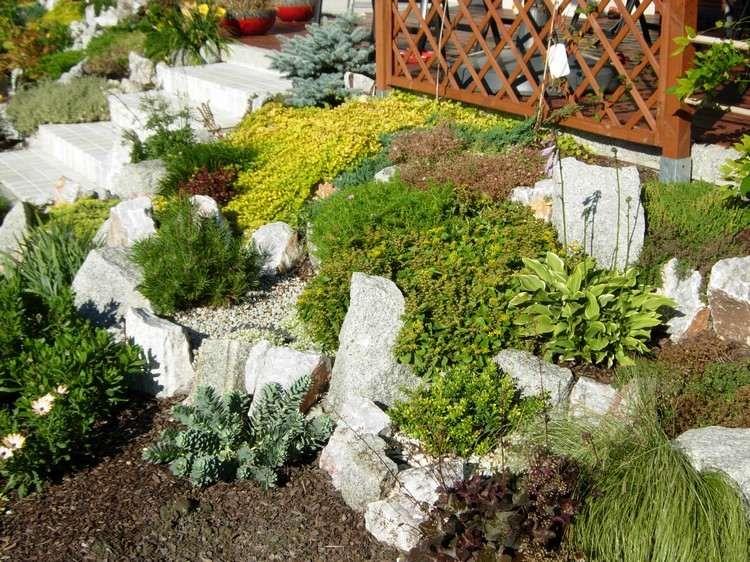 steingarten terrassiert anlegen und bepflanzen bodendecker steingarten steingarten. Black Bedroom Furniture Sets. Home Design Ideas
