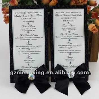 Embossing Wedding Menu Card View Sample Menu Card Product