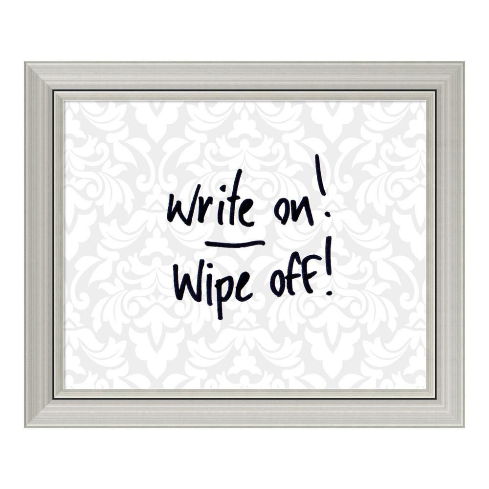 Amanti Art Grey & White Damask 24 in. W x 20 in. H Framed Glass Dry ...