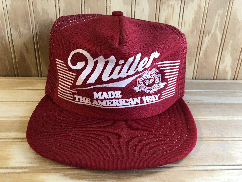 Miller Made The American Way Vintage 80's Beer Trucker Hat Mesh Snapback Red Cap