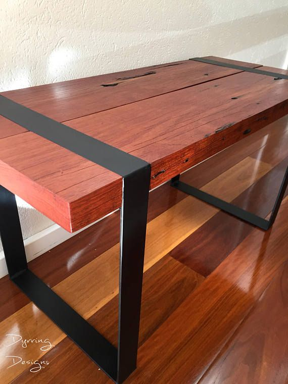 Red Gum Timber Coffee Table Coffee Black metal and Woods
