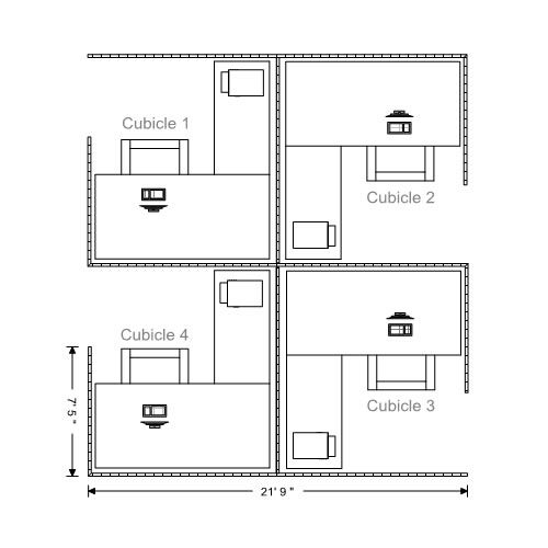 Office Floor Plans | Functional Office With Office Cubicals, Reception,  Conference Rooms.