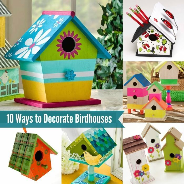You know those $1 birdhouses you can get at the craft store or in the dollar bins? Learn how to decorate them for your own. These are 10 great ideas!  sc 1 st  Pinterest & 10-Fun-Ways-to-Decorate-Wood-Birdhouses- | Birdhouse Decorating and ...