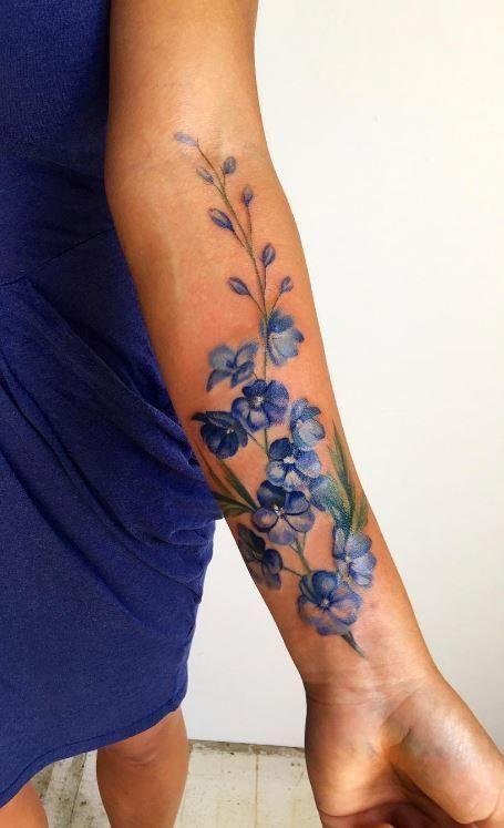 Blue Delphinium Tattoo Inkstylemag Blue Flower Tattoos Flower Tattoo Shoulder Delphinium Tattoo
