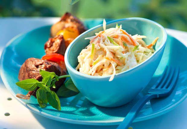 Brochettes de canard laqué et coleslaw au lait de cocoVoir la recette des brochettes de canard laqué et coleslaw au lait de coco