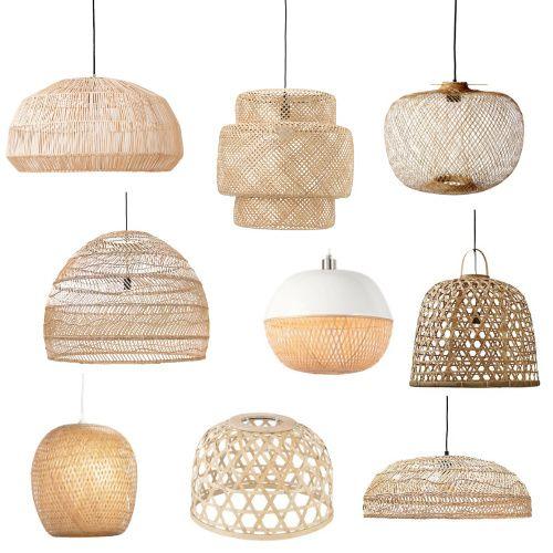 9x zomerse hanglampen van bamboe of riet rotan hanglampen en bamboe