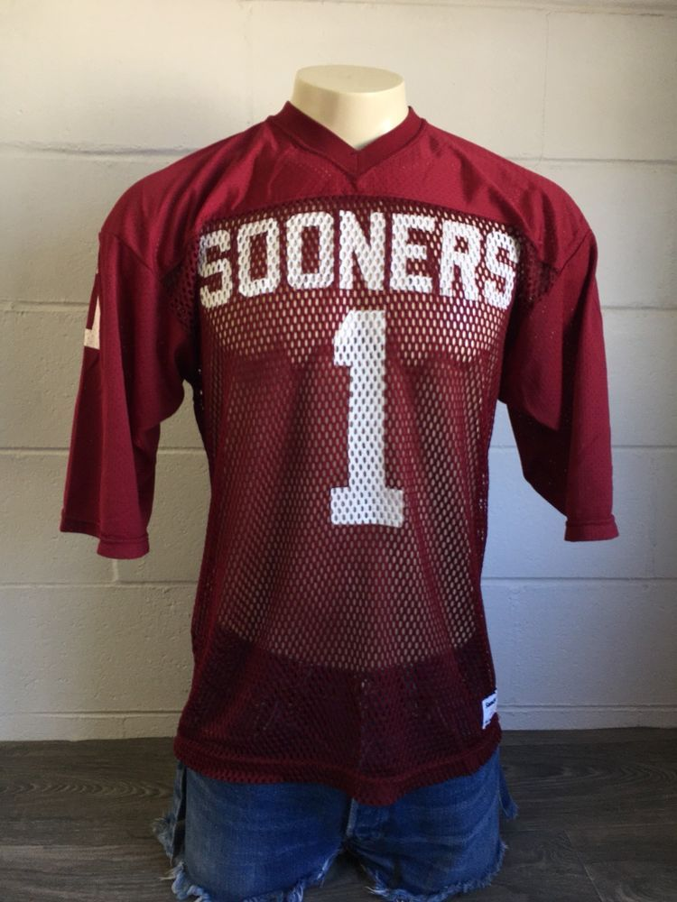 4dd2a16e0ed OKLAHOMA SOONERS Jersey #1 Sand Knit Vintage Mesh Football USA Medium EUC!  #OklahomaSooners