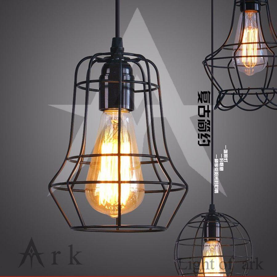 warehouse style lighting. LOFT Lamp Vintage Pendant Light LED Balck Iron Metal Cage Lampshade Warehouse Style Lighting Fixture R