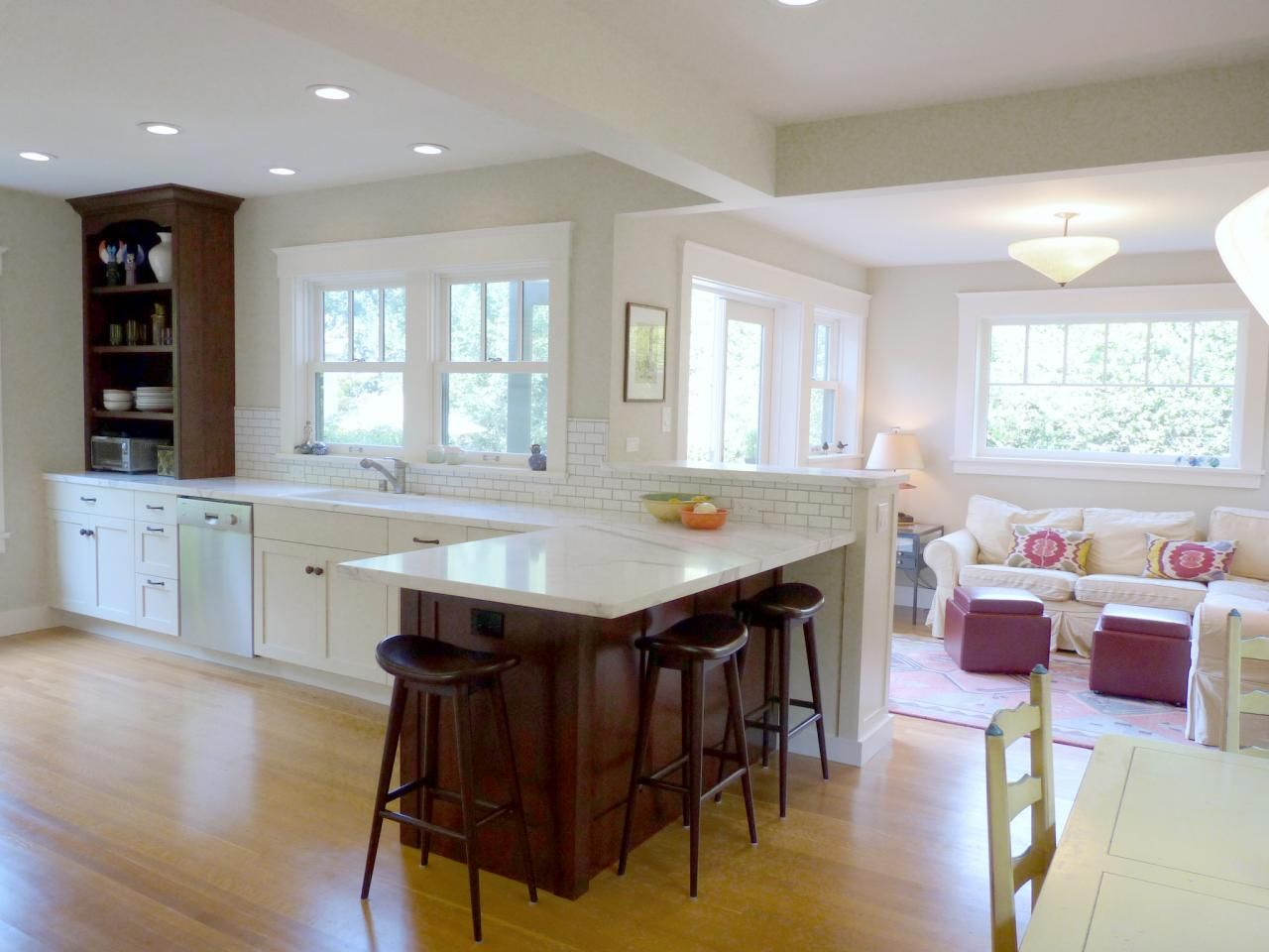 design ideas for kitchen family room combinations with white color