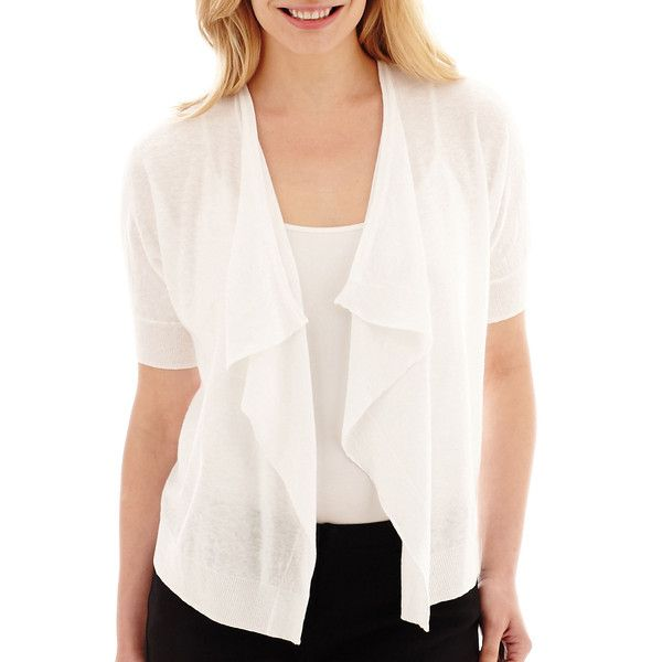 Petite Liz Claiborne Short-Sleeve Draped Cardigan White ($24 ...