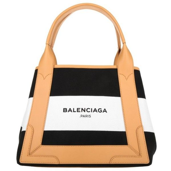 53d8a75e0bd Balenciaga Navy Striped Canvas Cabas S Black/White/Natural in brown,...  ($875) ❤ liked on Polyvore featuring bags, white bags, genuine leather bag,  ...