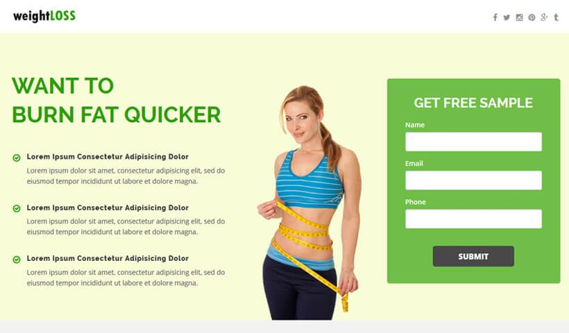Best weight loss landing page design to maximize your conversion.
