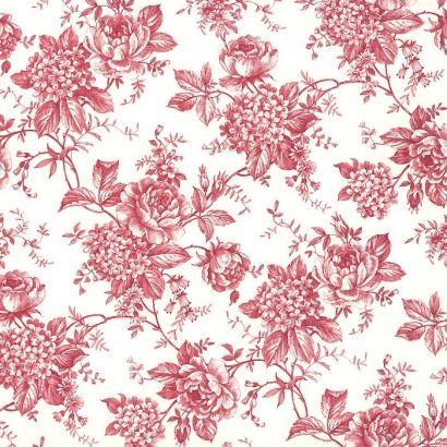 Red Rose Toile Print Italian Paper ~ Tassotti