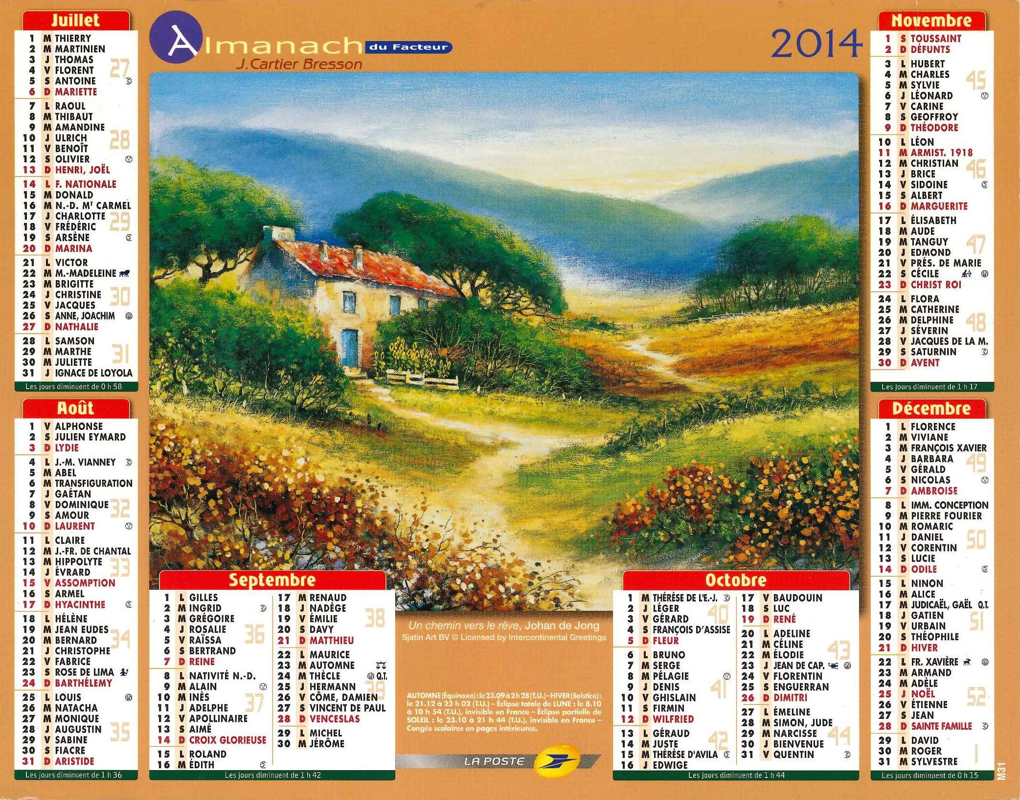 Almanach des Postes 2014 - 2ème Semestre