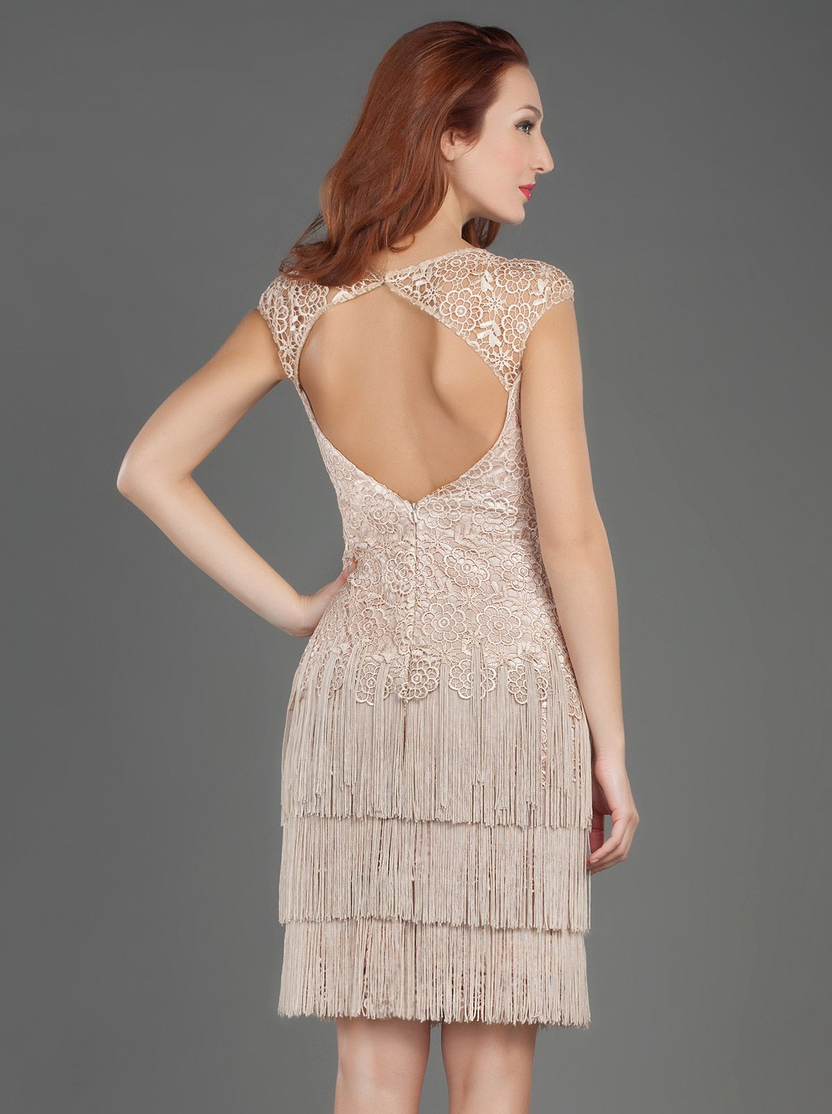 Short evening dress with fringes and lace mikaelen