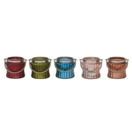 Decmode Glass Metal Candleholder, Multi Color, Multicolor