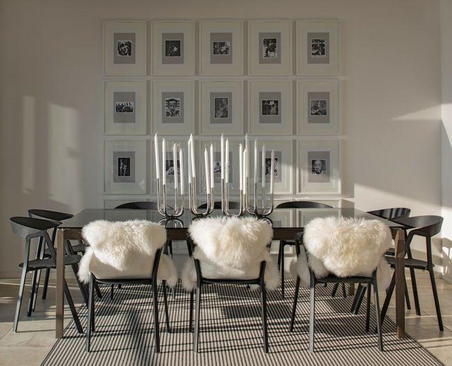 romantisch gestaltetes Esszimmer Fotowand Kerzenständer weiße - esszimmer in grau