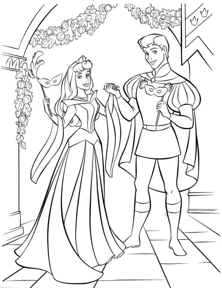 Princess Aurora On Mask Party Coloring Pages