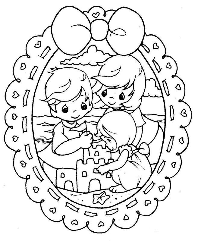 Coloring Pages: Family in the beach - free precious moments coloring pages