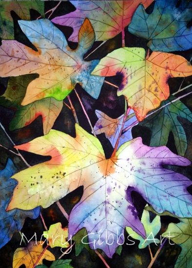 Leaves Mary Gibbs Art Watercolor Negative Painting Watercolor