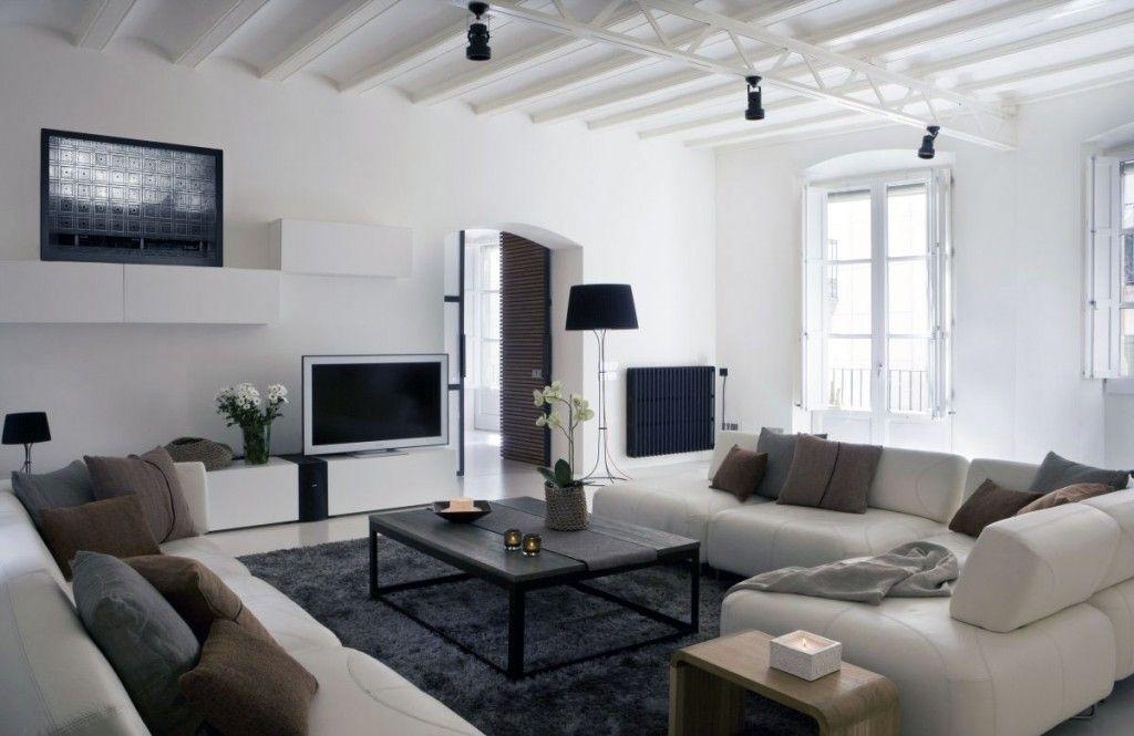 living room designs, white White Modern Living Room Apartment