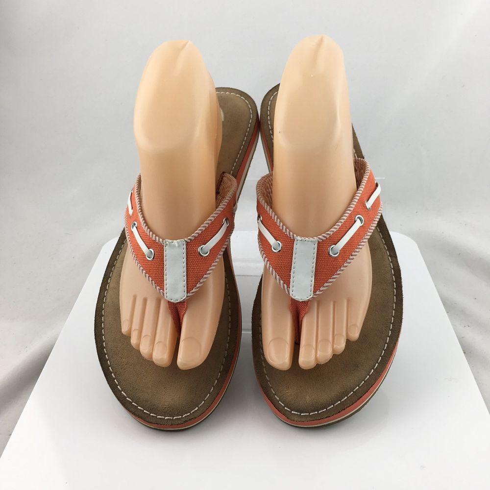 Clarks Flo Cherrymore Canvas Flip Flops thong Sandals Womens size 9M orange