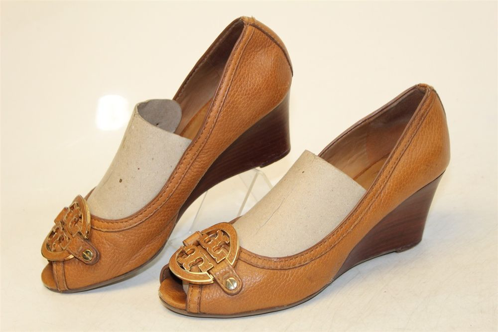 06e85a36fbcf Tory Burch USED Womens 7 M Sally Leather Peep Toe Wedge Heel Pumps Shoes  L12 rw  fashion  clothing  shoes  accessories  womensshoes  heels (ebay  link)
