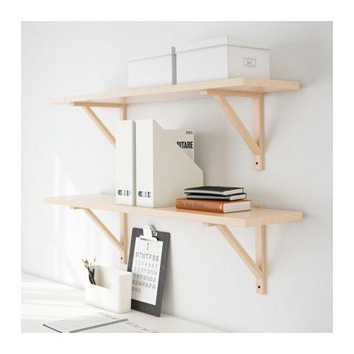 for kitchen - but paint brackets, or else black, or white ekby lerberg - EKBY JÄRPEN / EKBY VALTER Wall shelf - birch veneer, 119x28 cm - IKEA