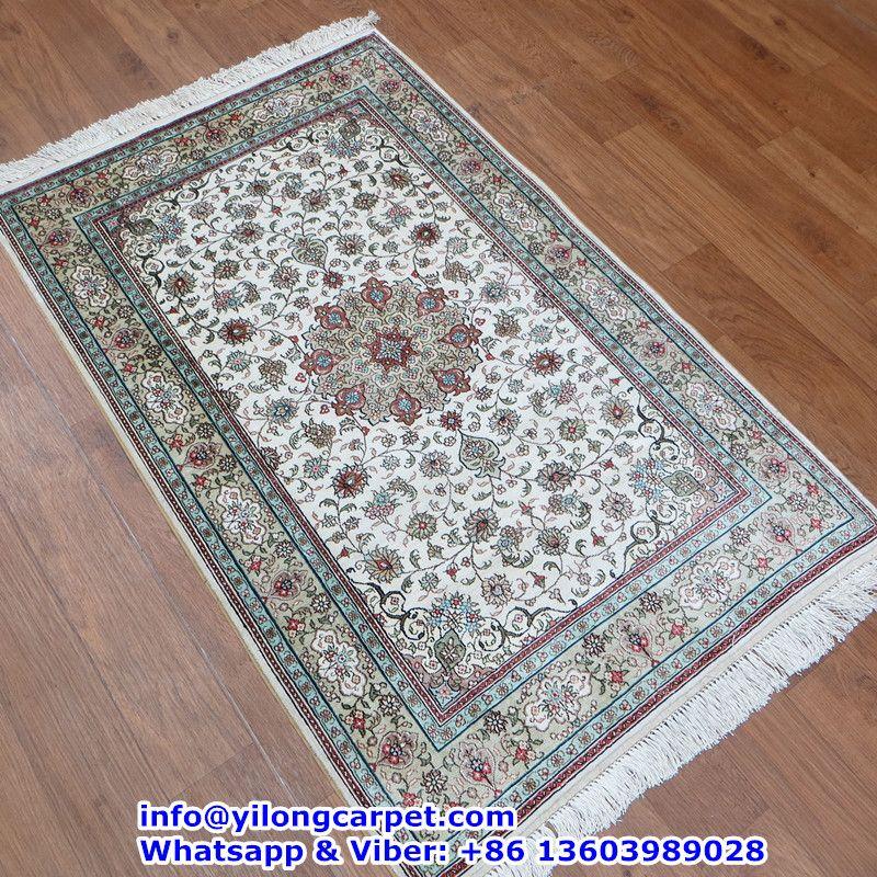 B07 2.5' x 4' Persian Rug, Silk Face and Silk Fringe, 324kpsi Handmade Rug Made By Yilong Carpet. Color: Wine Red,Black, Beige, Light Blue, Light Green etc. Medallion Design with Flower Pattern.