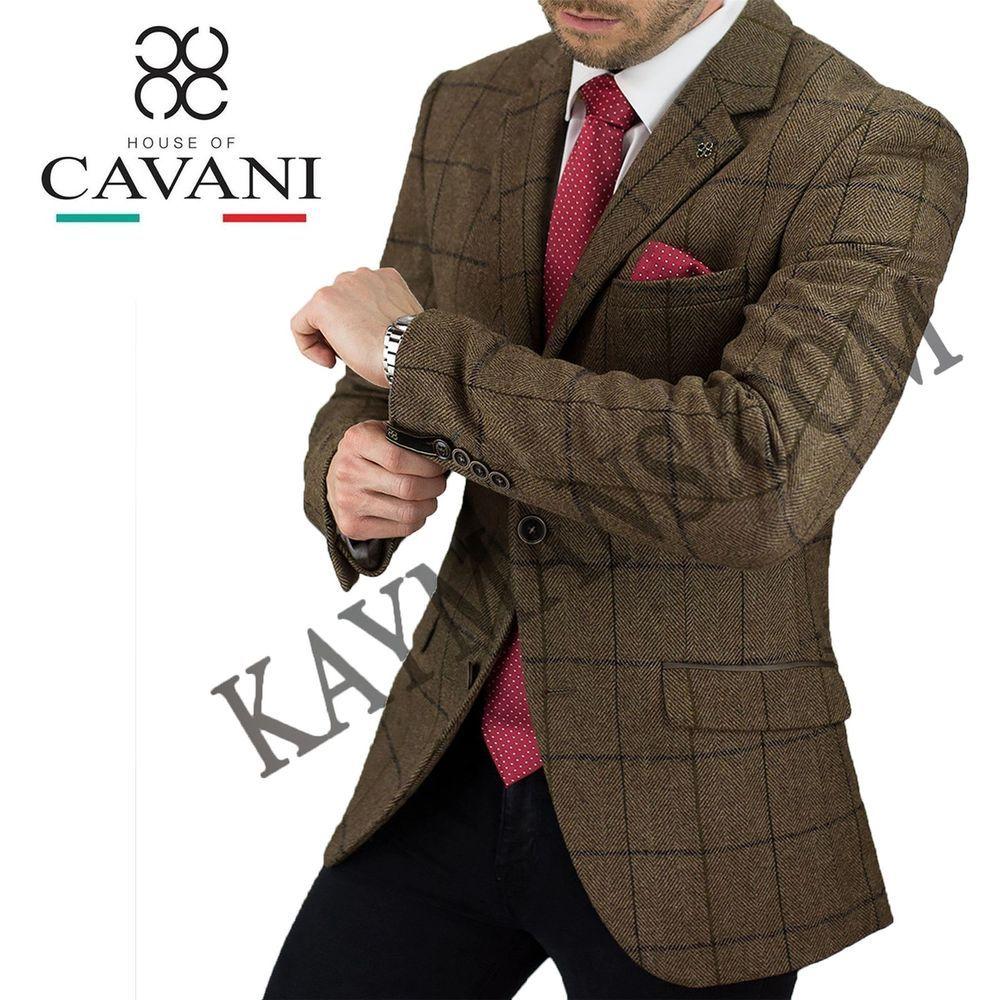 Cavani Mens 3 Piece Tweed Formal Suit Blazer Waistcoat Trousers Sold Separately