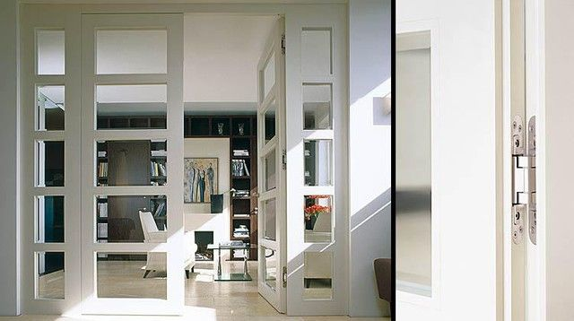 Flush room divider with glass insert b27 modern for Interior sliding glass doors room dividers