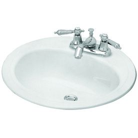 Briggs Homer White Enameled Steel Drop In Round Bathroom Sink With Overflow 255881