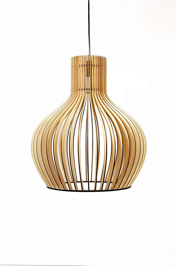 Scandinavian style wooden hanging lamp , lightning ...