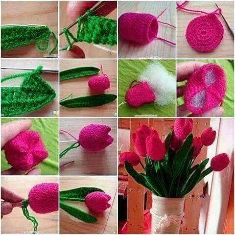 Tulipanes a crochet paso a paso