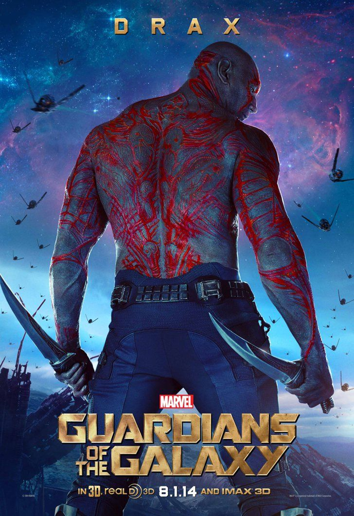 Pin for Later: Can We Talk About How Sexy Chris Pratt Looks in His Guardians of the Galaxy Poster? Dave Bautista as Drax