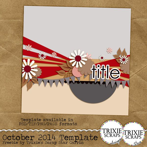 Trixie Scraps Designs - October 2014 Challenge Template based on Bursting with Photos template series